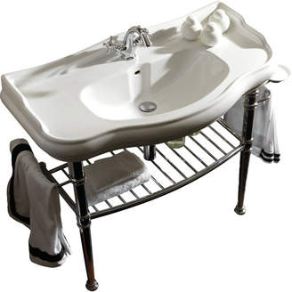 """WS Bath Collections Retro Ceramic 34"""" Console Bathroom Sink with Overflow Faucet Drilling: Three Hole"""