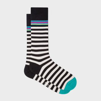 Men's Black And White Two Stripe Socks $30 thestylecure.com