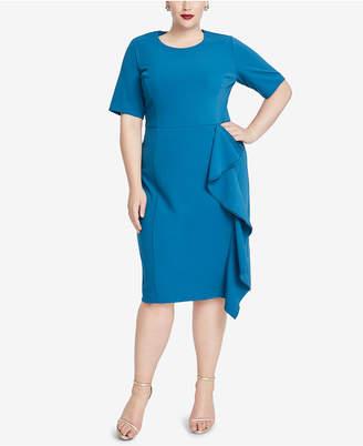 Rachel Roy Trendy Plus Size Ruffled Scuba Crepe Dress