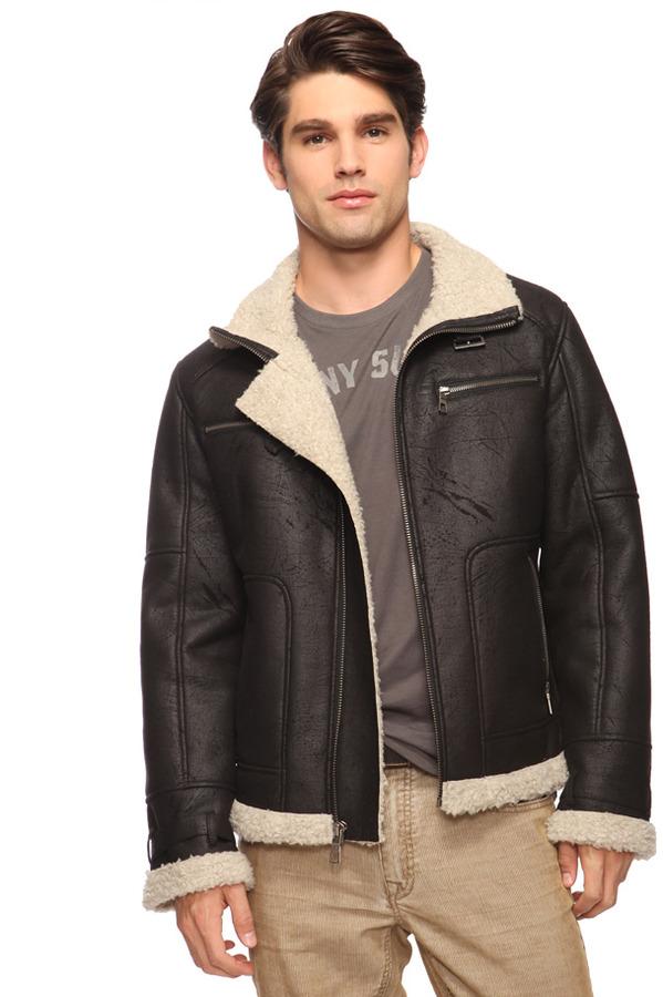 Forever 21 21 MEN Faux Shearling Biker Jacket