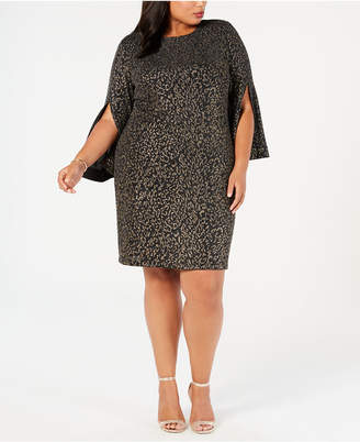 MSK Plus Size Metallic Leopard-Print Dress