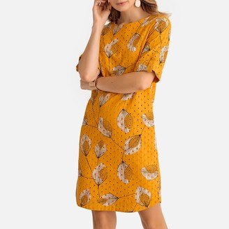 Anne Weyburn Floral Print Broderie Anglaise Shift Dress