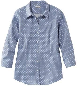 L.L. Bean L.L.Bean Women's Wrinkle-Free Pinpoint Oxford Shirt, Three-Quarter-Sleeve Print