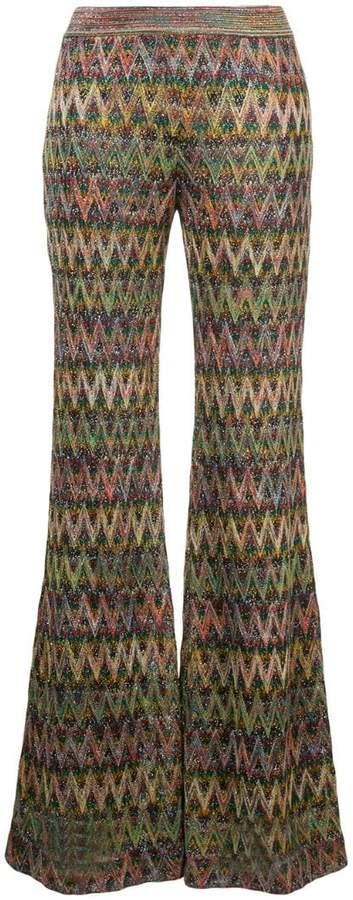 chevron-knit trousers