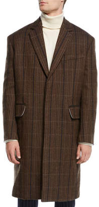Calvin Klein Men's Striped Vintage Wool Topcoat