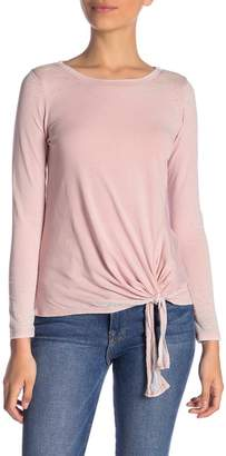 Susina Long Sleeve Burnout Side Tie Tee (Petite)