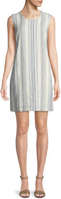 Neiman Marcus Tie-Back Striped Linen Tunic Dress