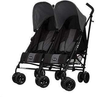 O Baby Obaby Apollo Black/Grey Twin Stroller (Grey)