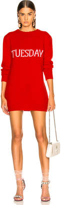 Alberta Ferretti Tuesday Crewneck Sweater Dress in Red | FWRD