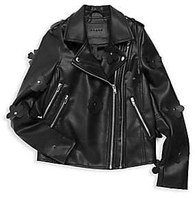 Blank NYC Girl's Faux Leather Embellished Moto Jacket