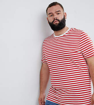 Asos DESIGN Plus stripe t-shirt in red and white
