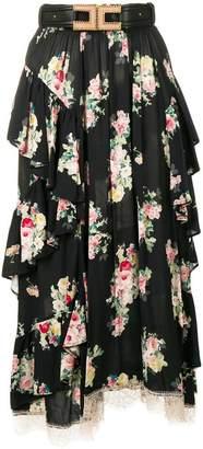 Elisabetta Franchi floral ruffle skirt