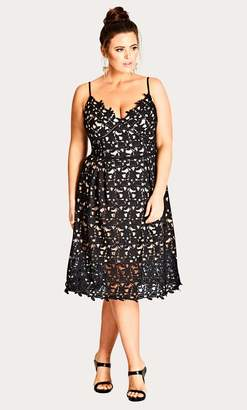 City Chic Black So Fancy Crochet Fit & Flare Dress Size 14/X-Small Polyester