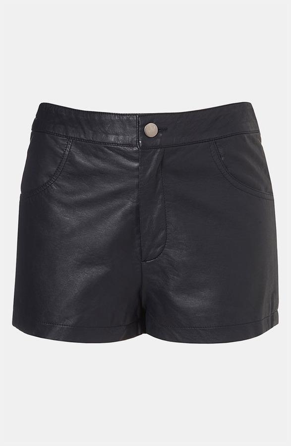 Topshop Faux Leather Shorts