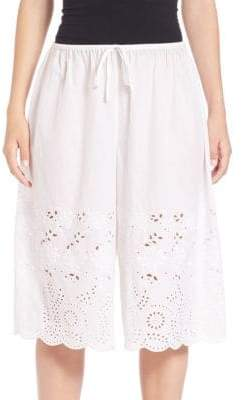 Suno Laser-Cut Drawstring Skirt
