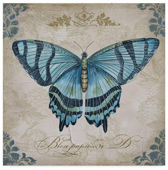 """Jean Plout 'Large Blue Butterfly' Canvas Art - 14"""" x 14"""""""