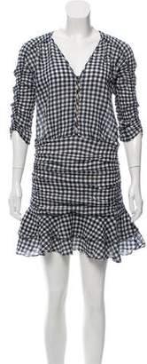 Veronica Beard Gingham Print Mini Dress