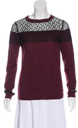 Nina Ricci Lace-Accented Cashmere Sweater