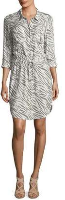 Heidi Klein Kalahari Button-Front Zebra-Print Beach Shirtdress