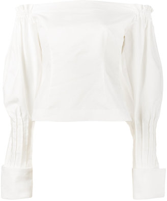 Jacquemus off-shoulder puff sleeve blouse $373.93 thestylecure.com