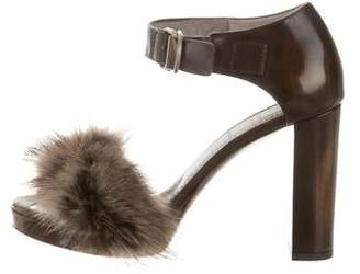 Brunello Cucinelli Fur-Trimmed Leather Sandals w/ Tags