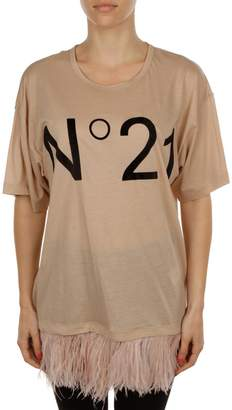 N°21 N.21 Cotton T-shirt With Feathers Detail