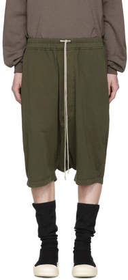 Rick Owens Green Drawstring Pods Shorts