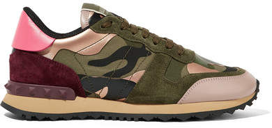 Valentino - Leather And Suede-trimmed Camouflage-print Canvas Sneakers - Army green
