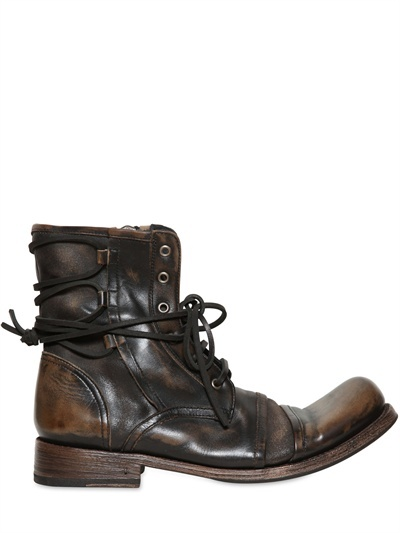 John Varvatos 30mm Brixton Back Laced Leather Boots