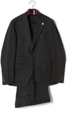 Hydrogen ピンバッジ付 ストライプ ピークドラペル スーツ ブラックストライプホワイト 52