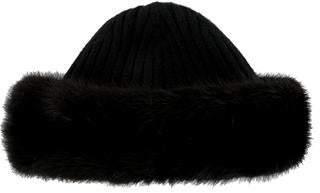 35f2075d01f Prada Rib-Knit Fur-Trimmed Beanie