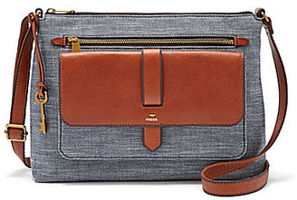 Fossil Kinley Chambray Large Cross-Body Bag $138 thestylecure.com