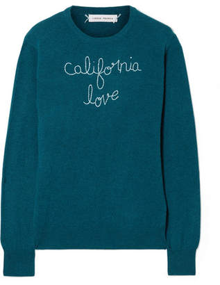 Lingua Franca - California Love Embroidered Cashmere Sweater - Teal