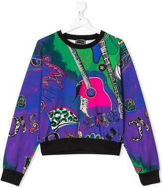 Versace TEEN guitar print sweatshirt