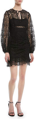 Self-Portrait Self Portrait Long-Sleeve Circle Floral Lace Mini Cocktail Dress