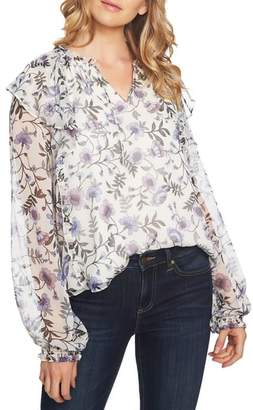 CeCe Bloomsbury Floral Chiffon Ruffle Blouse