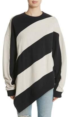 Marques Almeida Marques'Almeida Asymmetrical Stripe Sweatshirt