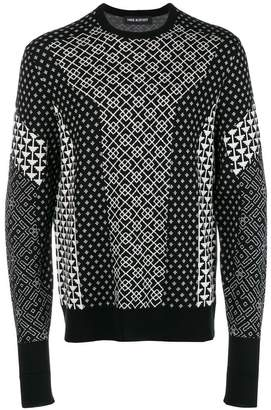 Neil Barrett contrast intarsia knit sweater