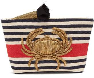 Sanayi 313 - Granceola Embroidered Stripe Pouch - Womens - Red Multi