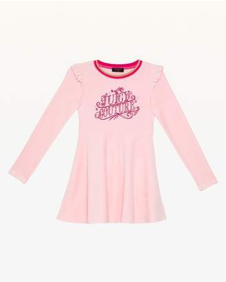 Juicy Couture Carnival Script Juicy Velour Long Sleeve Dress for Girls