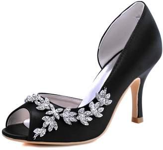 Elegantpark HP1542 Women Peep Toe Rhinestones Pumps High Heel Satin Wedding Bridal Dress Shoes US 10