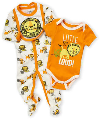 Baby Essentials Q By Quiltex (Newborn Boys) 3-Piece Lion Bib, Bodysuit & Pant Set
