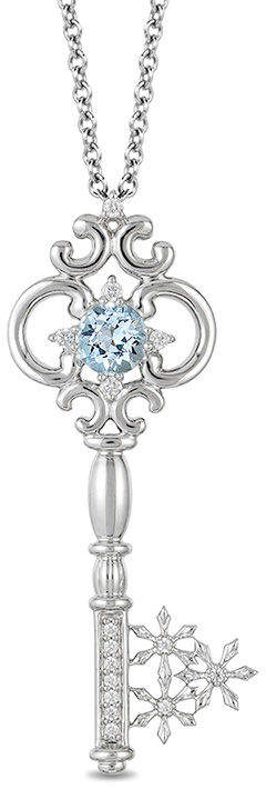 Enchanted Disney Elsa 5.0mm Aquamarine and 1/10 CT. T.W. Diamond Key Pendant in Sterling Silver - 19""
