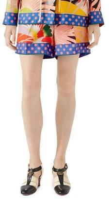 Gucci Tropical Bird-Print Silk Shorts