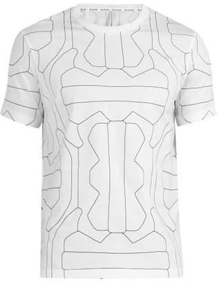 BLACKBARRETT by NEIL BARRETT Line Print Cotton T Shirt - Mens - White