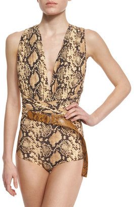 Michael Kors Python-Print Belted One-Piece Swimsuit $660 thestylecure.com