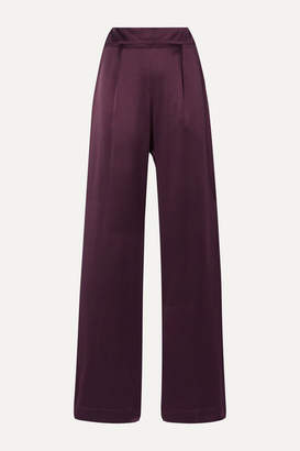 La Collection - Gabrielle Silk-satin Wide-leg Pants - Burgundy