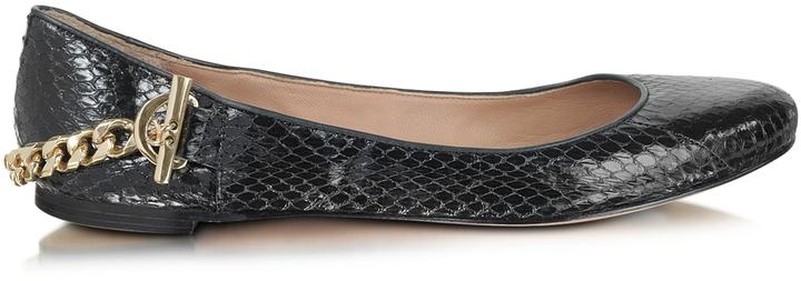 Rachel Zoe Laura - Black Python Ballerina Shoes