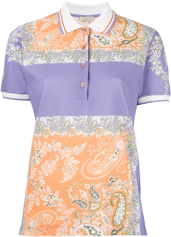 Etro Etro square print polo shirt