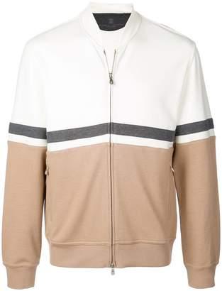 Brunello Cucinelli colour block bomber jacket